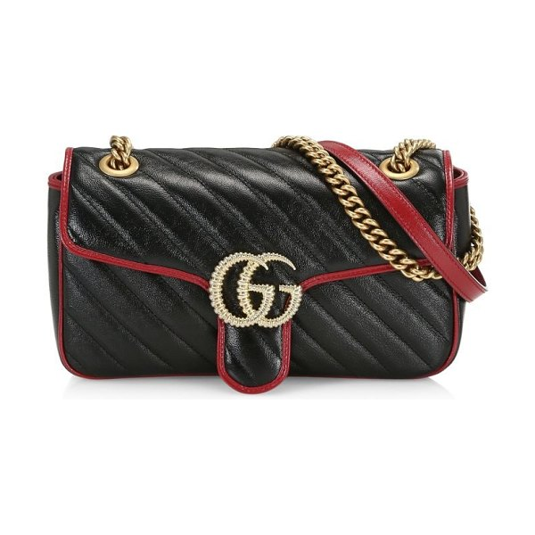 Gucci small gg marmont leather shoulder bag in neutral