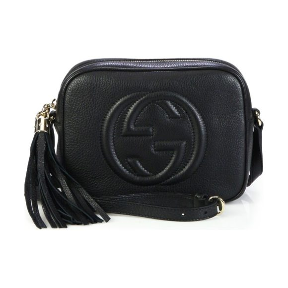 Gucci soho leather disco bag in black,red