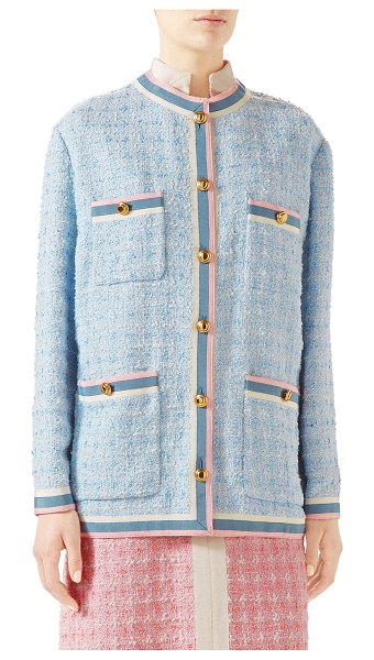 Gucci Stripe-Trim Button-Front Tweed Jacket in light blue