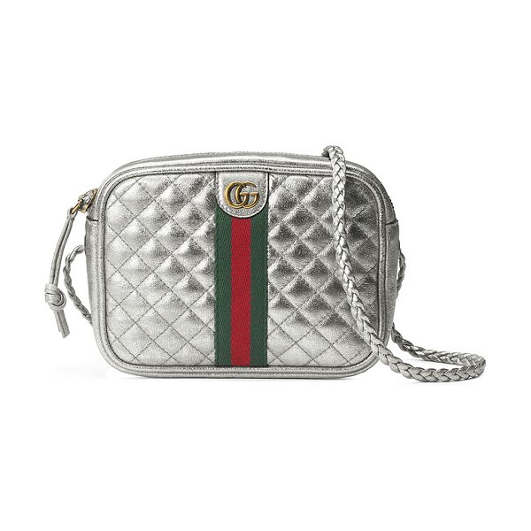 Gucci Trapuntata Metallic Leather Mini Crossbody Bag in silver - Gucci quilted metallic leather mini crossbody bag....