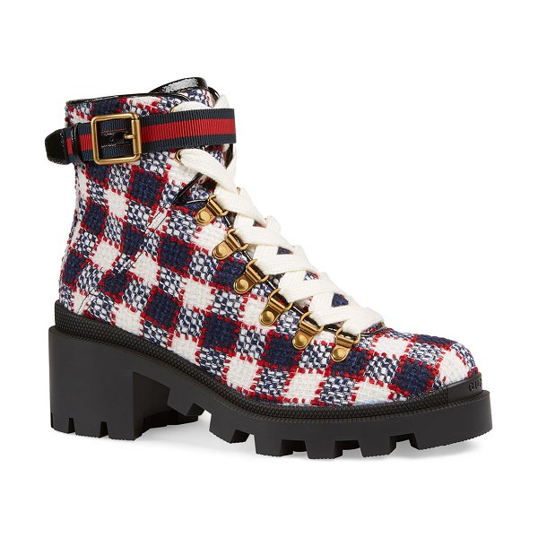 Gucci Trip Vintage Tweed Check Boots in blue