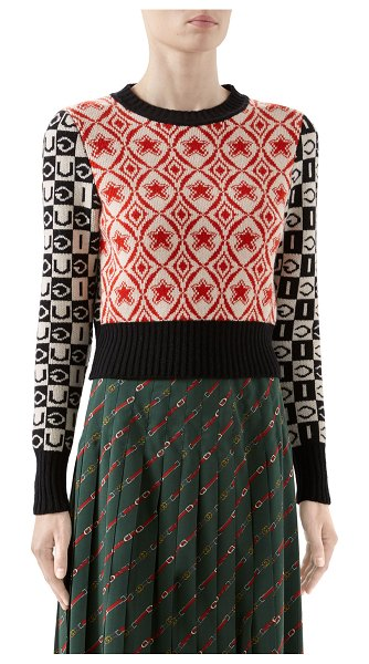 Gucci Two-Tone Long-Sleeve Crop Sweater in black pattern