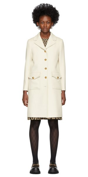 Gucci white single-breasted coat in 9205 ivory