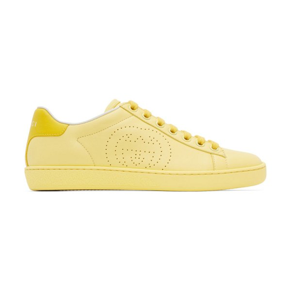 Gucci yellow interlocking g new ace sneakers in 7460 banan