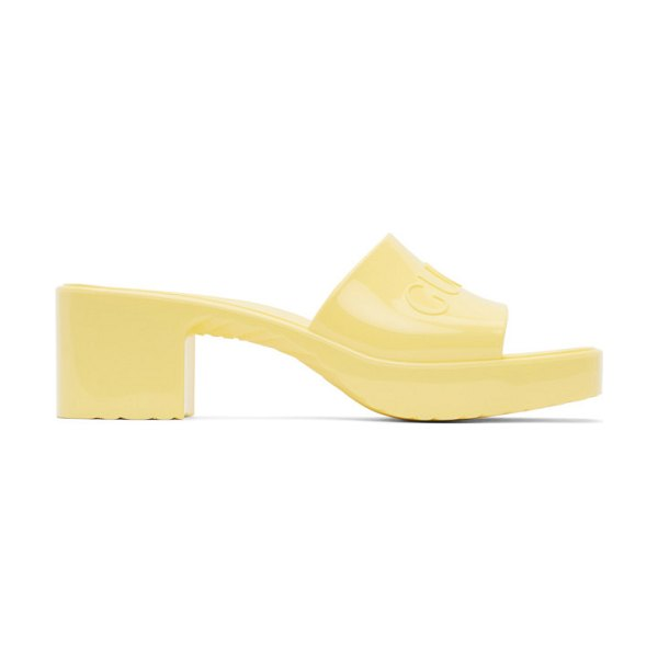 Gucci yellow rubber slide sandals in 7412 banana