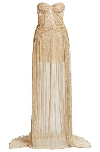 Gustavo Cadile crinkled strapless metallic gown in gold