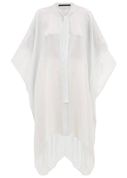 Haider Ackermann tie front contrast panel silk top in light blue - Haider Ackermann - Haider Ackermann's penchant for...