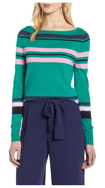 Halogen halogen bateau neck sweater in green multi stripe - This slim, elongated sweater is ideal for transitional...