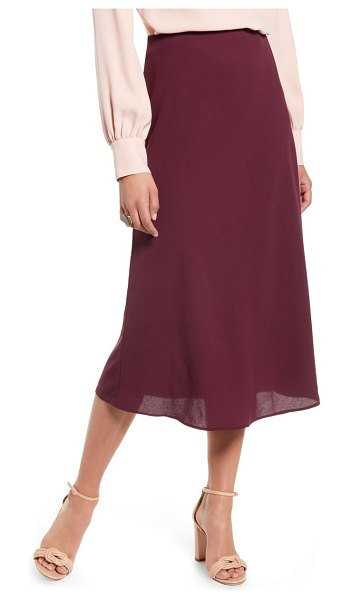 Halogen halogen bias cut a-line midi skirt in burgundy stem