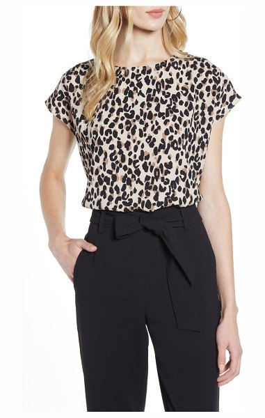 Halogen halogen boxy blouse in tan abstract animal print