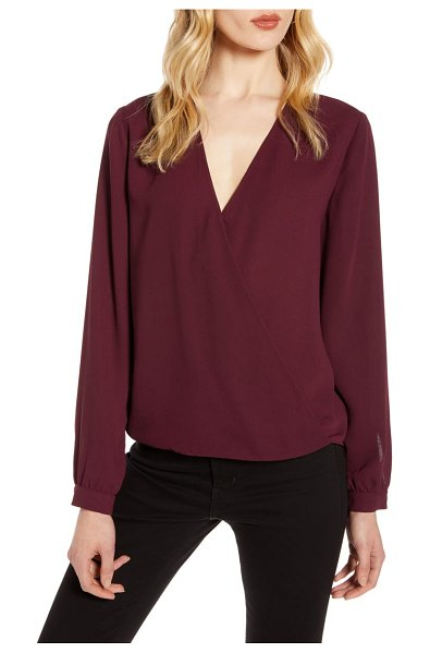 Halogen halogen faux wrap blouse in burgundy stem