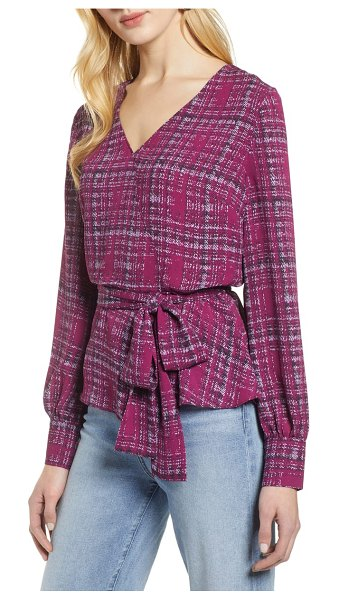 Halogen halogen faux wrap blouse in purple - A choice of lively prints updates this everyday-romantic...