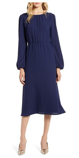 Halogen halogen long sleeve midi dress in navy peacoat