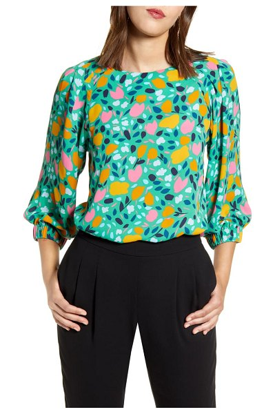 Halogen halogen pleated sleeve blouse in green floral