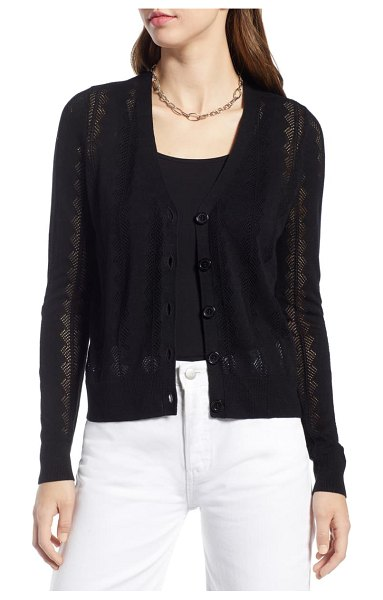 Halogen halogen pointelle cardigan in black