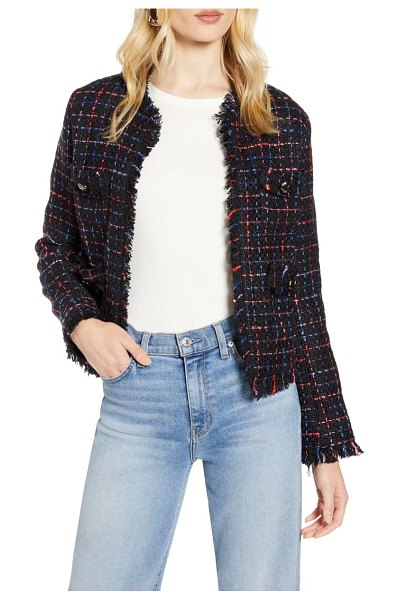 Halogen halogen raw edge cotton blend tweed jacket in navy multi tweed
