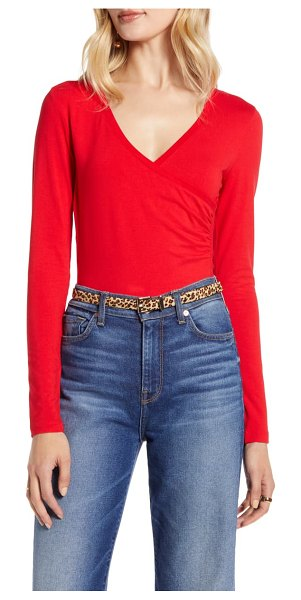 Halogen halogen surplice knit top in red chinoise