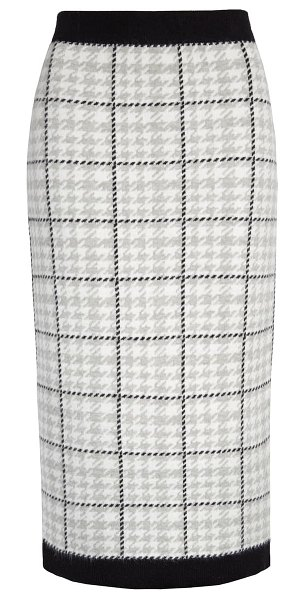Halogen halogen sweater skirt in ivory- grey houndstooth