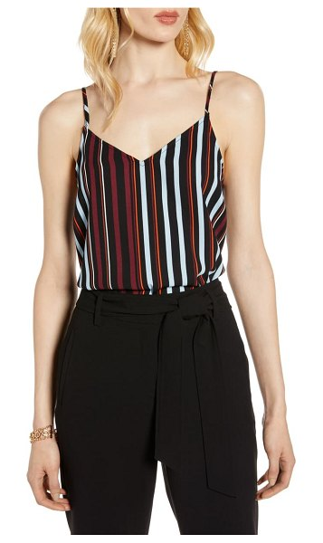 Halogen halogen v-neck camisole in black multi stripe