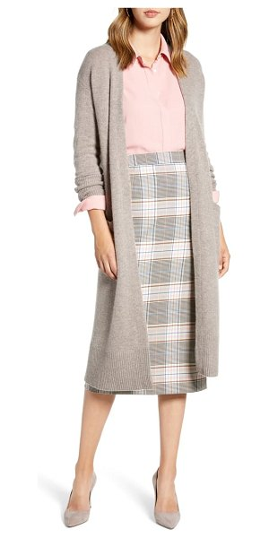 Halogen halogen wool & cashmere long cardigan in heather tan cobblestone