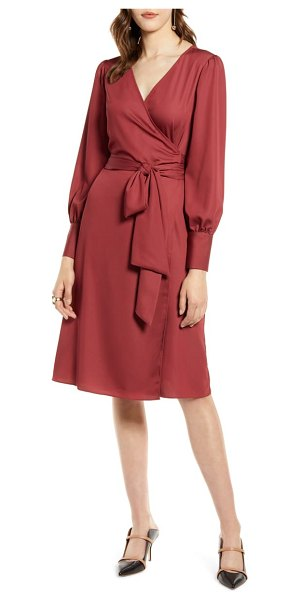 Halogen halogen long sleeve wrap dress in red chili
