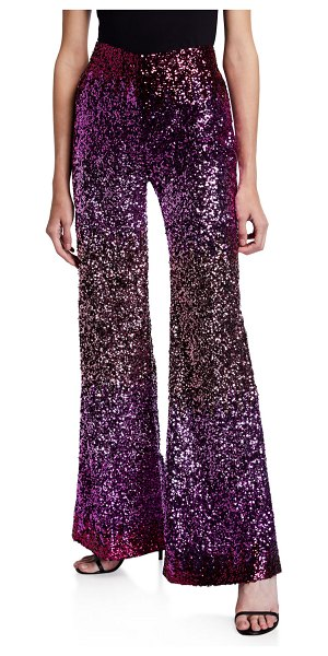 HALPERN Degrade Sequined Stovepipe Trousers in pink