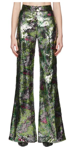HALPERN mutlicolor sequin stovepipe trousers in green bloss