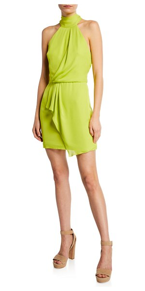 Halston F2 Sleeveless Mock-Neck Dress with Drape Front Detail in lime