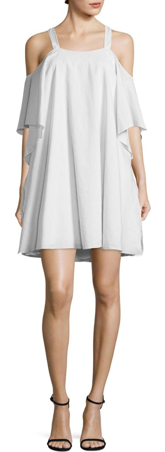 Halston flowy cold shoulder dress in light grey - Flowy dress designed with tie-up detail on shoulders....