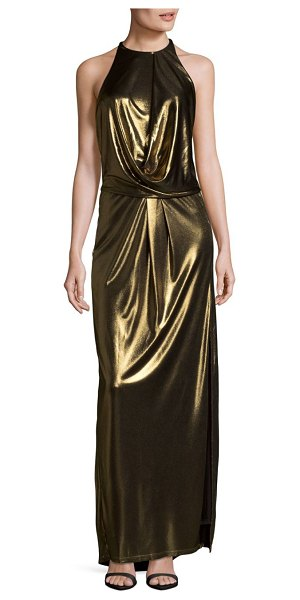 HALSTON Metallic Halter Gown in brown - Sophisticated and showstopping floor-length gown....