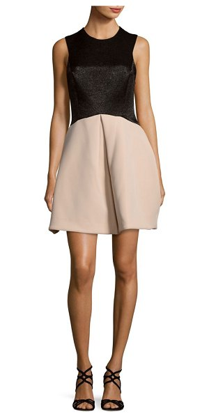 HALSTON Pleated Roundneck Dress - Sleeveless dress enhanced with a mesh detailing. Roundneck....