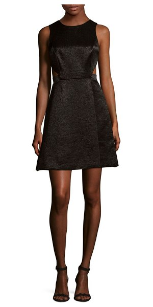 Halston Sleeveless Fit-&-Flare Dress in black - Side cutouts add style to this cotton-blend fit-&-flare...