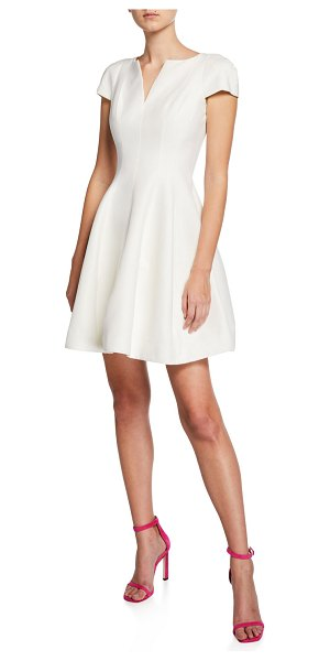Halston Maggie Short Fit-&-Flare Dress in off white