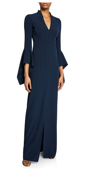 Halston V-Neck Flounce-Sleeve Crepe Gown in navy