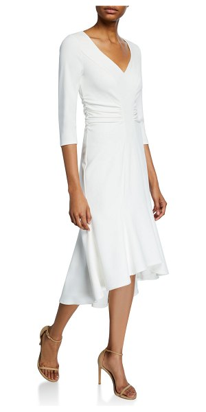 Halston Wide V-Neck Ruched Waist High-Low Crepe Dress in white