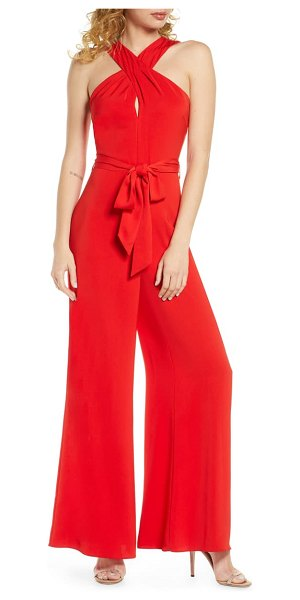 Harlyn halter neck wide leg jumpsuit in red