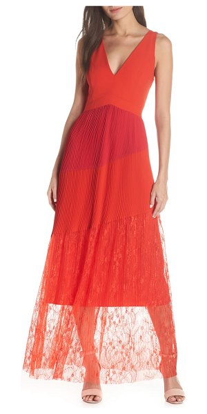 Harlyn pleated mix media colorblock evening dress in red - Pleats and lace and low-dipping necklines-oh my. This...
