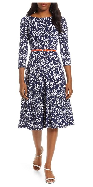 Harper Rose floral print belted midi dress in navy
