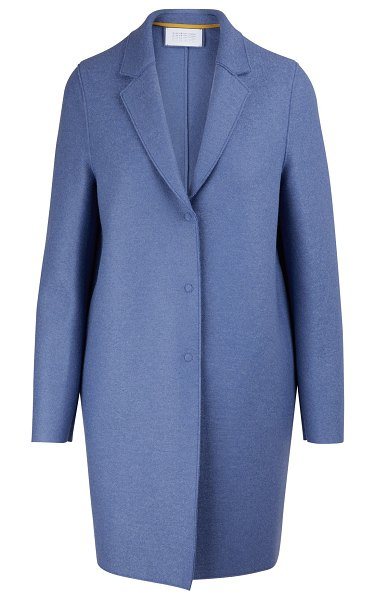Harris Wharf Cocoon coat in felted wool in powder blue