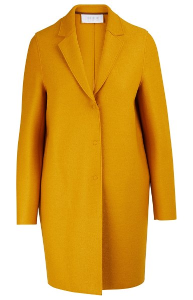 Harris Wharf Cocoon coat in felted wool in golden yellow