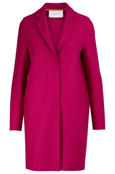 Harris Wharf Cocoon coat in felted wool in magenta