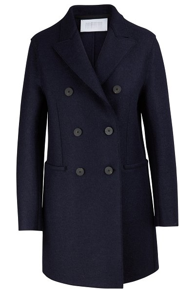 Harris Wharf Felted wool coat in navy/blue