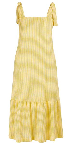 Harris Wharf Gingham midi dress in lemon