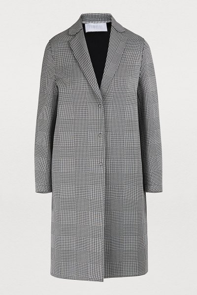 Harris Wharf Glen plaid cotton coat in black & white p.o.w.