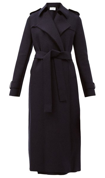 Harris Wharf London double-breasted wool trench coat in navy