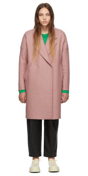 Harris Wharf London pink oversized fitted coat in 568 old ros