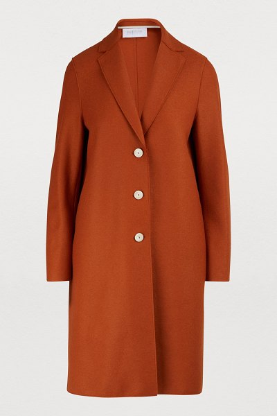 Harris Wharf London Wool coat in copper - Harris Wharf London is offering its iconic Cocoon wool...