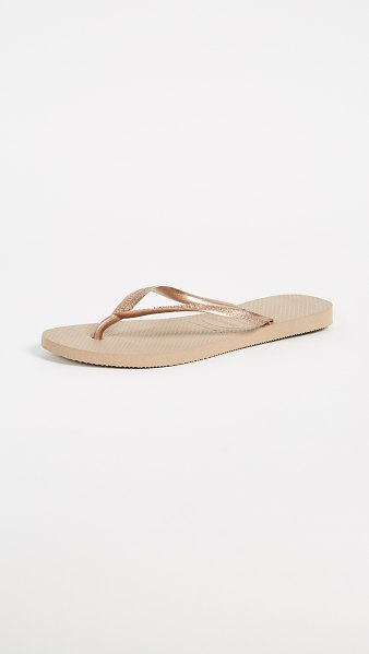 Havaianas slim flip flops in rose gold