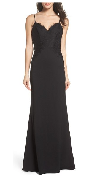 Hayley Paige Occasions Lace & Crepe Trumpet Gown in Black | Shopstasy