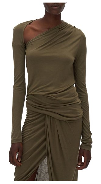Helmut Lang asymmetrical long sleeve stretch jersey top in naval green